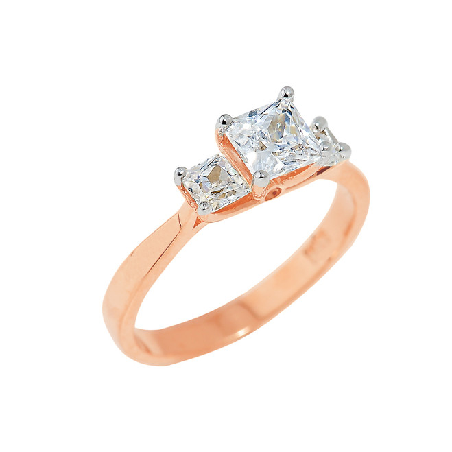 Rose Gold Princess Cut Engagement Ring with CZ