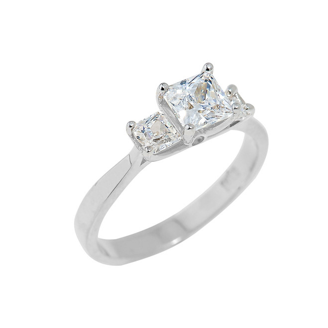 Sterling Silver Princess Cut Engagement Ring with CZ