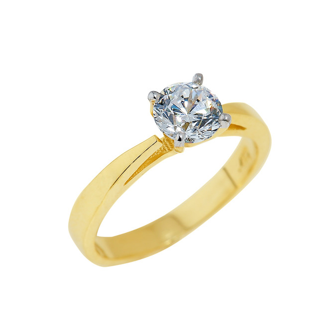 Gold Engagement Ring with Round Cut CZ