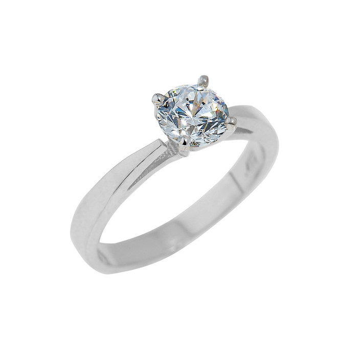 White Gold Engagement Ring with Round Cut CZ