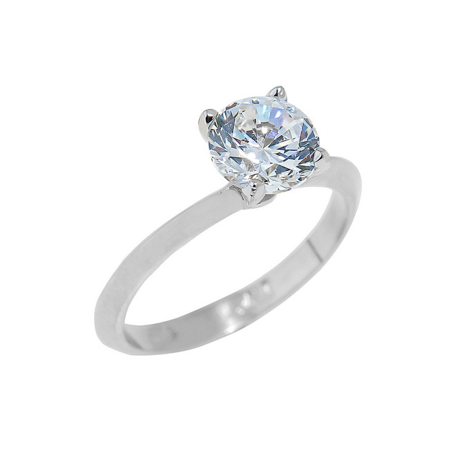 White Gold Engagement Ring with Round Cut Cubic Zirconia