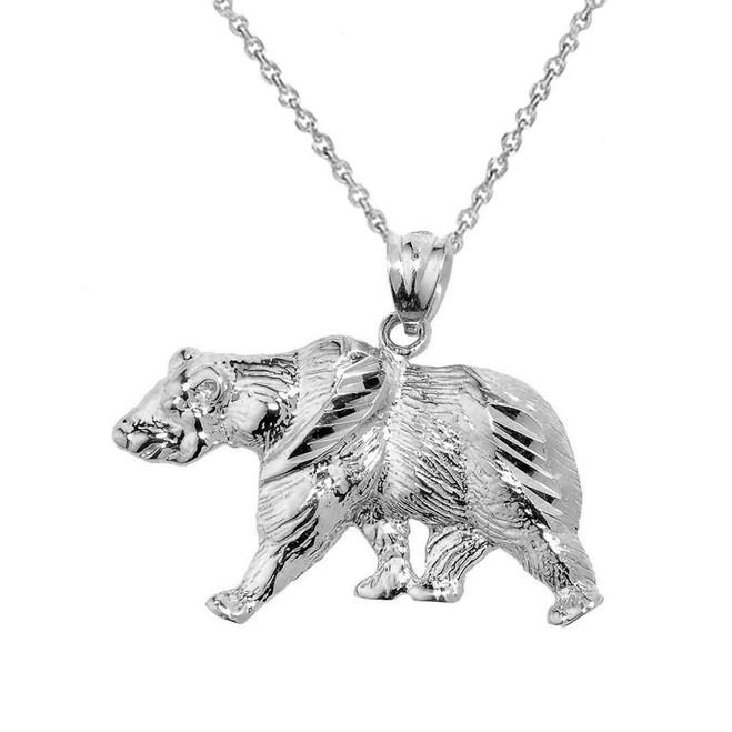 Solid White Gold Diamond Cut Bear Pendant