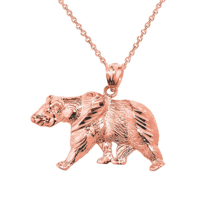 Solid Rose Gold Diamond Cut Bear Pendant