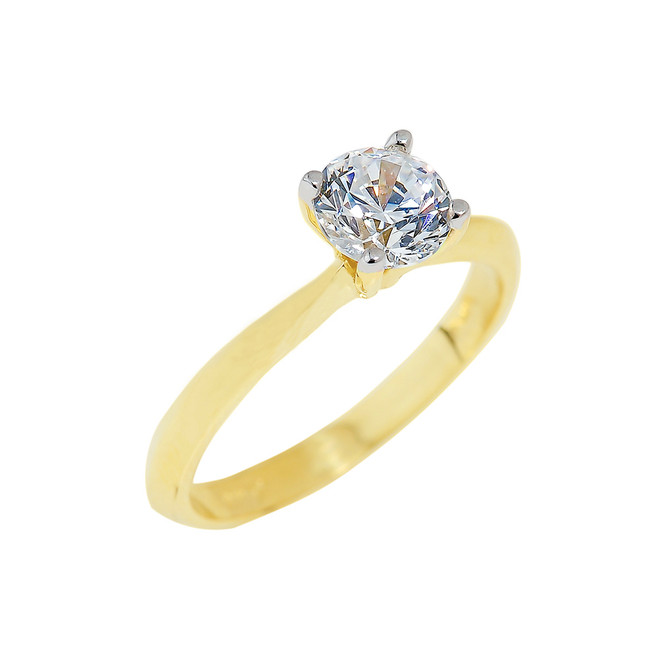 Gold Round Cut CZ Ring