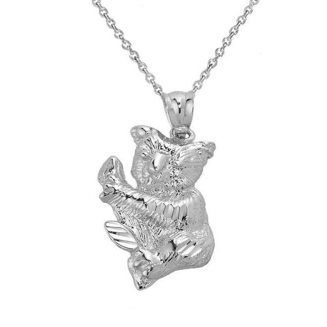 Sterling Silver Diamond Cut Koala Bear Pendant