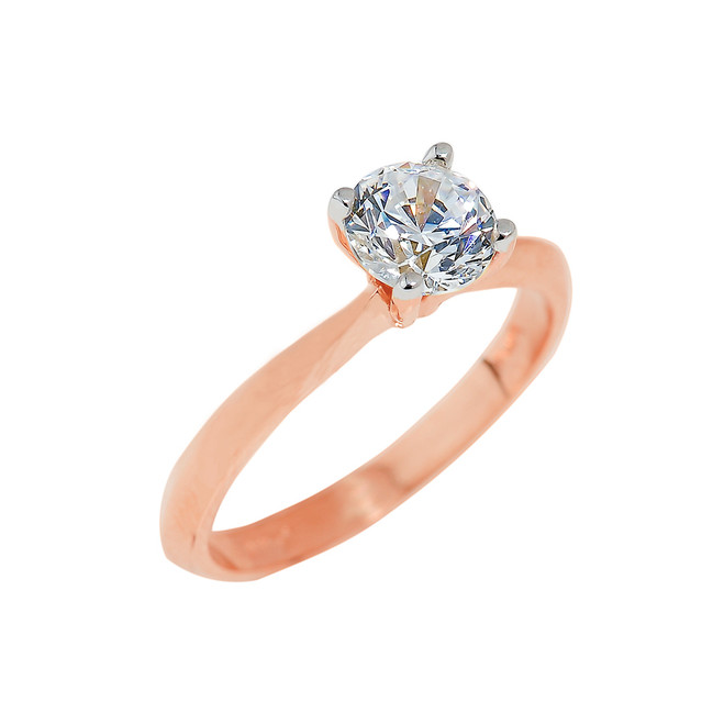 Rose Gold Round Cut CZ Ring