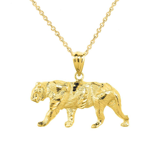 Solid Yellow Gold Diamond Cut Tiger Pendant