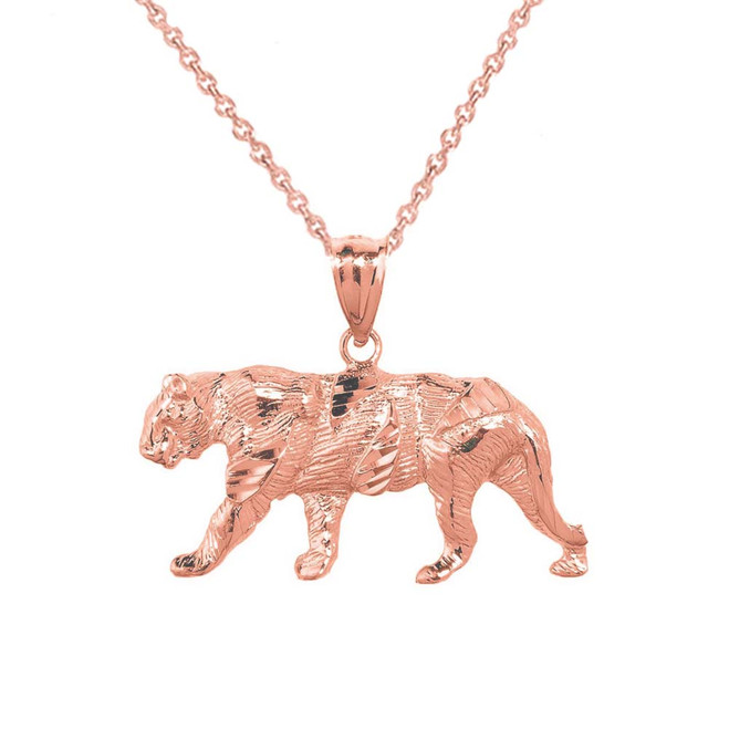 Solid Rose Gold Diamond Cut Tiger Pendant