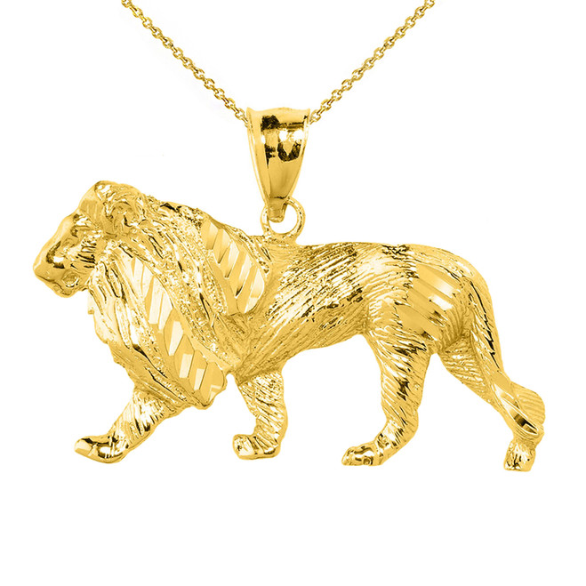 Yellow Gold Diamond Cut Lion Pendant Necklace