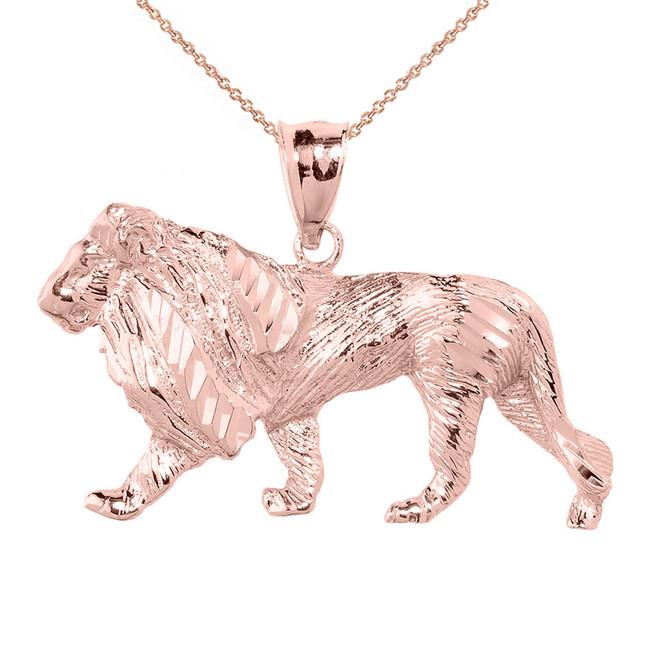 Rose Gold Diamond Cut Lion Pendant Necklace