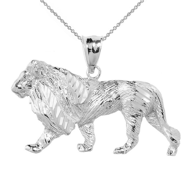 Sterling Silver Diamond Cut Lion Pendant Necklace