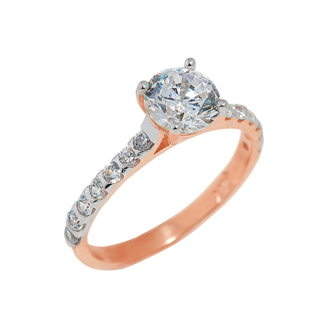 Rose Gold Ladies Engagement Ring with Cubic Zirconia