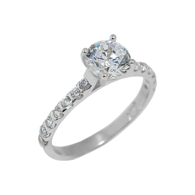 Sterling Silver Ladies Engagement Ring with Cubic Zirconia