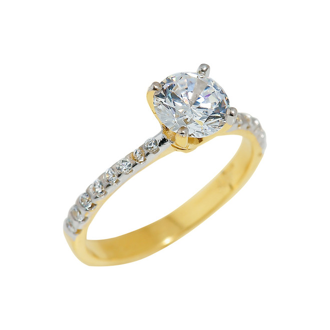 Gold Ladies CZ Engagement Ring