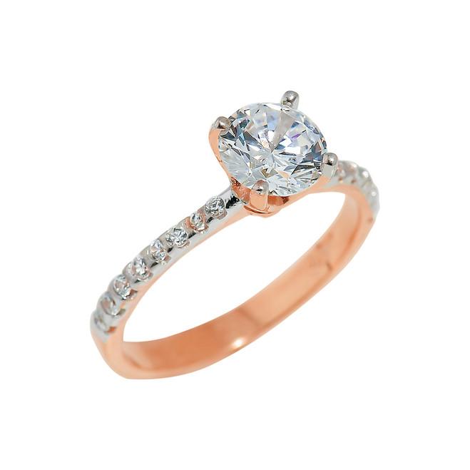 Rose Gold Ladies CZ Engagement Ring