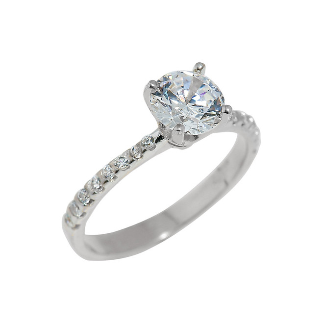 Sterling Silver Ladies CZ Engagement Ring
