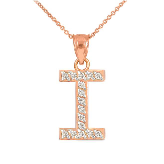 "Rose Gold Letter ""I"" Diamond Initial Pendant Necklace"