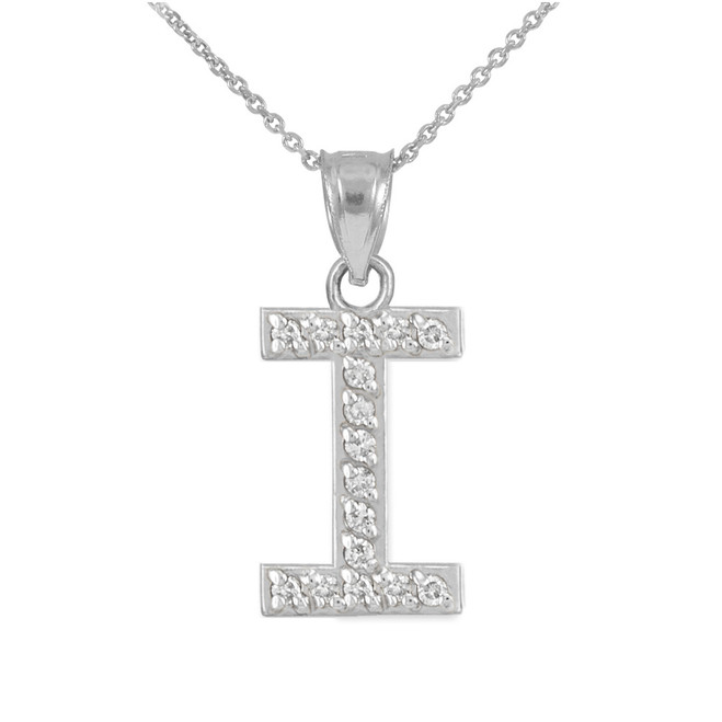"""Sterling Silver Letter """"I"""" CZ Initial Pendant Necklace"""