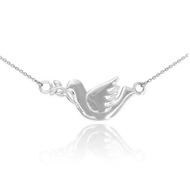 14K White Gold Dove Necklace