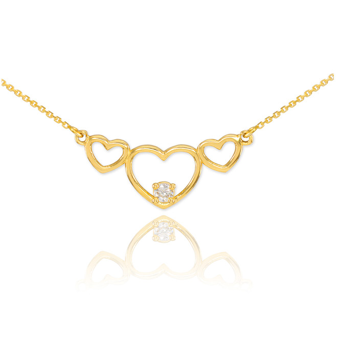 14K Gold Triple Heart Necklace with CZ
