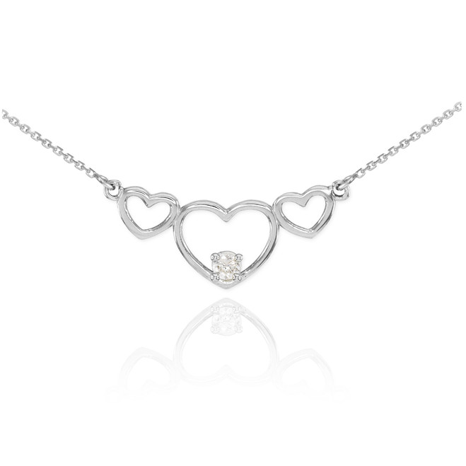 Sterling Silver Triple Heart Necklace with CZ