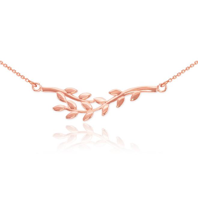 14K Polished Rose Gold Olive Branch Necklace