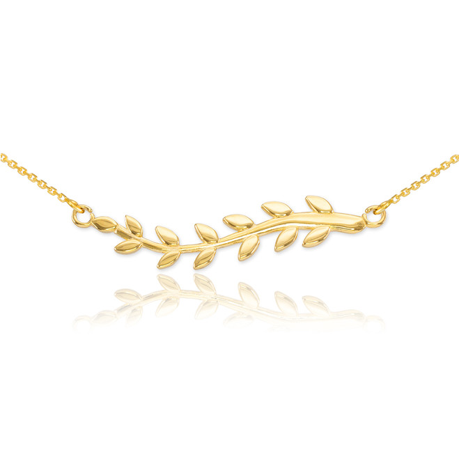 14K Gold Olive Branch Necklace