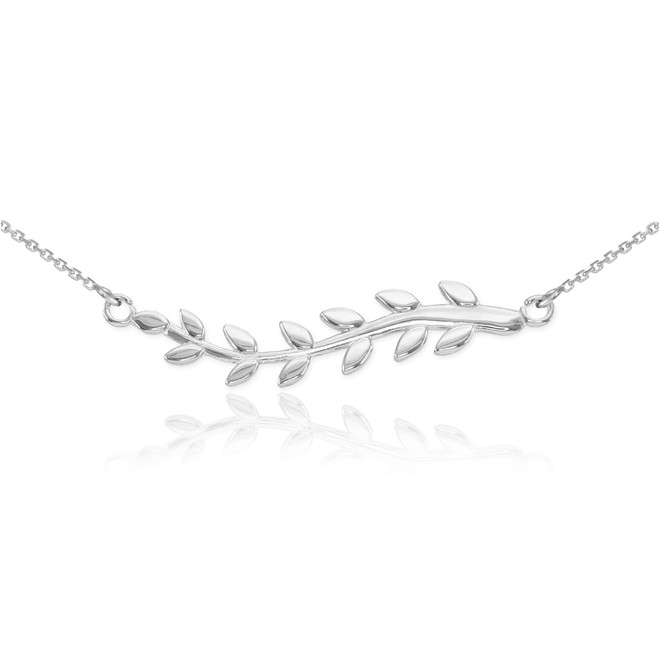 14K White Gold Olive Branch Necklace