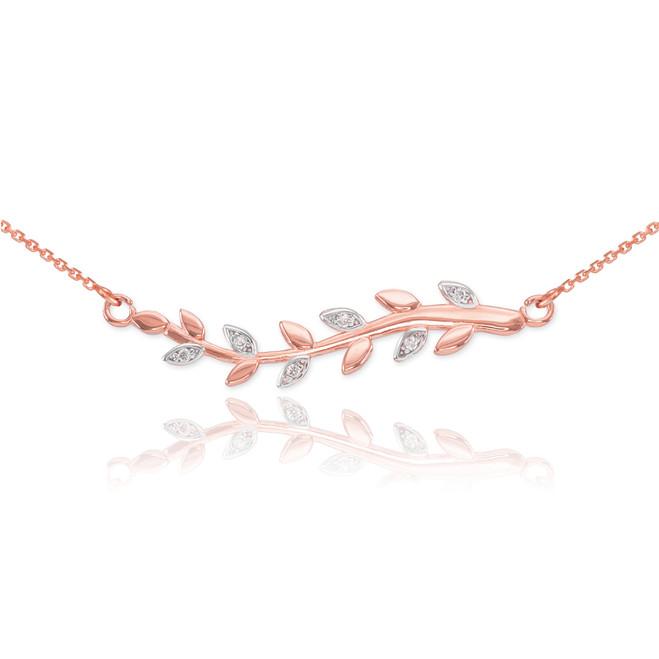14K Rose Gold Diamond Olive Branch Necklace