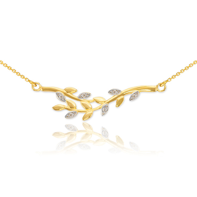 14K Gold Olive Branch Necklace with Diamonds