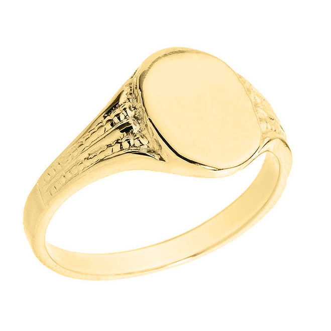 Solid Yellow Gold Oval Engravable Signet Ring