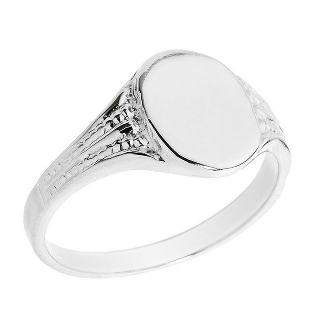 Solid White Gold Oval Engravable Signet Ring