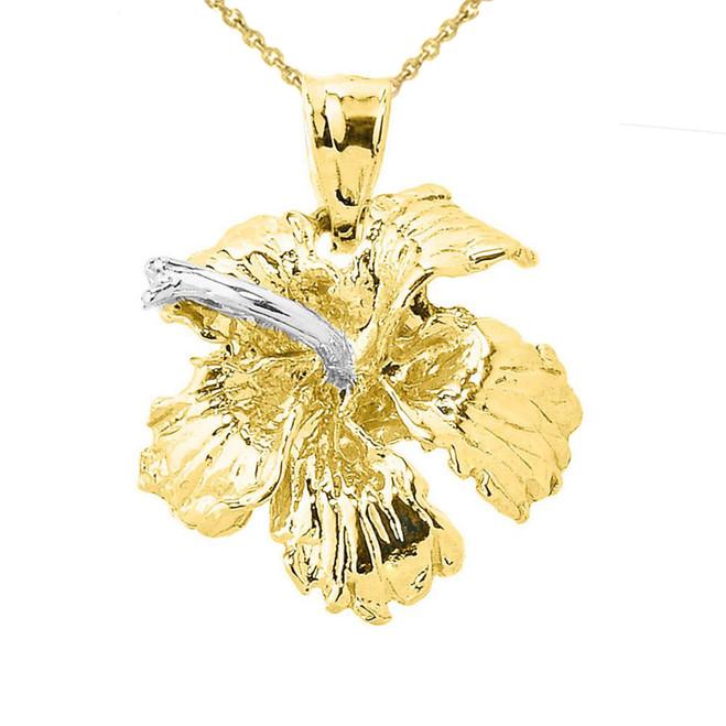 Solid Yellow Gold Caribbean Hibiscus (Malvaceae) Flower Charm Pendant