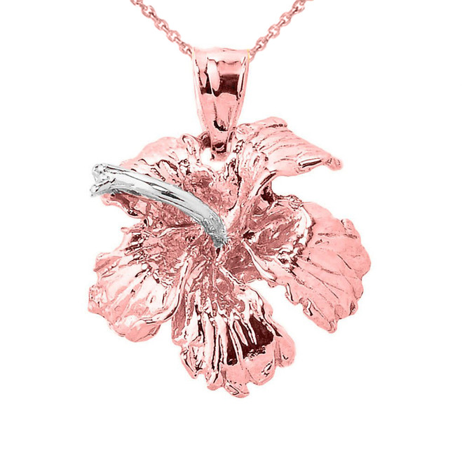 Solid Rose Gold Caribbean Hibiscus (Malvaceae) Flower Charm Pendant
