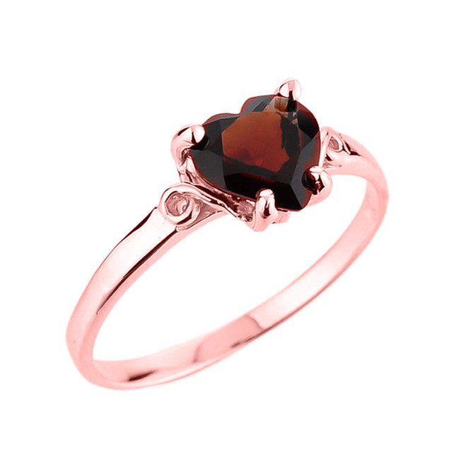 Ladies Heart Shaped Garnet Ring in Rose Gold