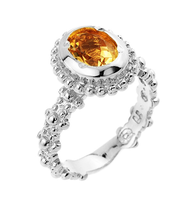 Citrine November birthstone ladies ring in 10k or 14k white gold.