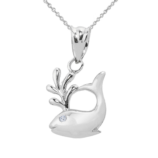 Solid White Gold Diamond Whale Charm Pendant Necklace