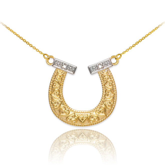 14k Two-Tone Gold Diamond Horseshoe Necklace