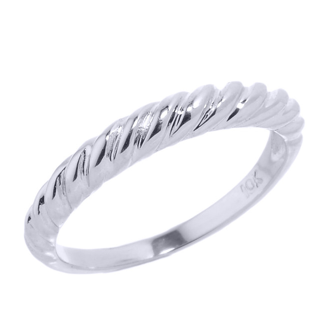 White Gold Twisted Rope Stackable Ring