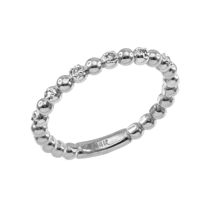 White Gold Ball Chain Stackable Ring with Diamonds