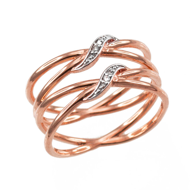 Rose Gold Dainty Double Infinity Orbit Ring with Diamonds
