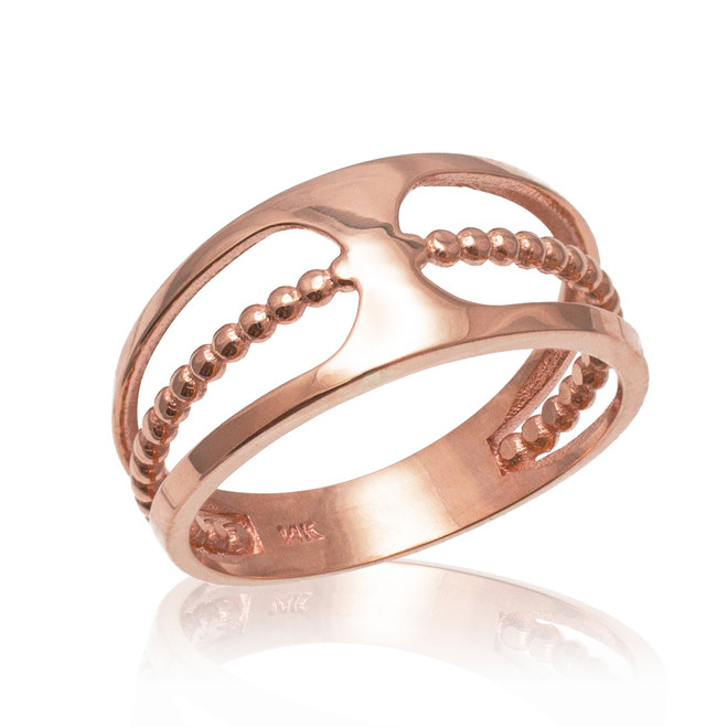 Rose Gold Bead Openwork Ring