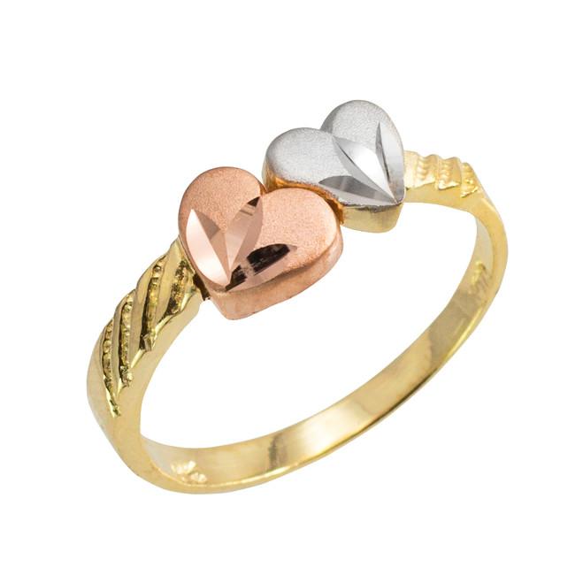 Gold Diamond Cut Hearts Ring