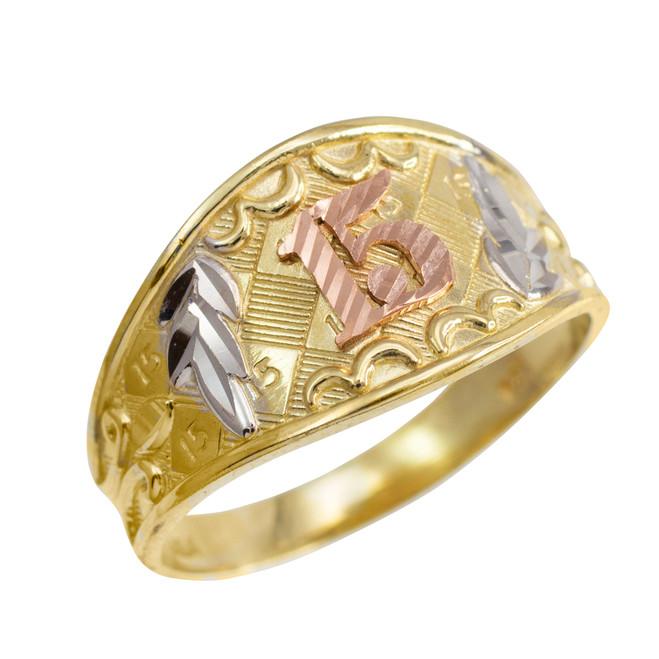 "Gold Diamond Cut ""15 Anos"" Quinceanera Ring"