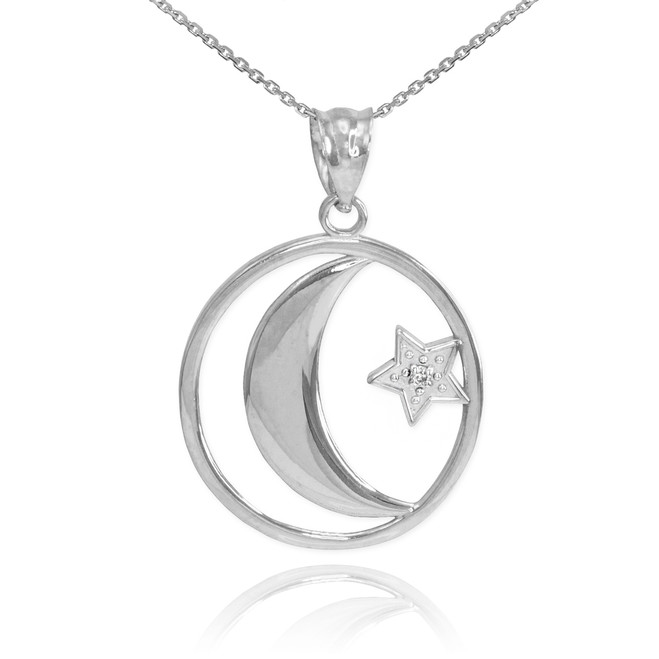 White Gold Crescent Moon with Diamond Star Islamic Pendant Necklace