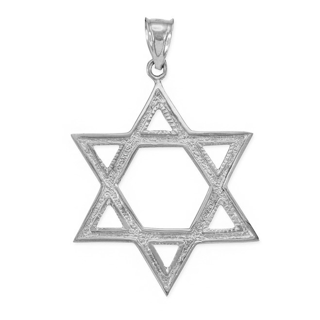 White Gold Star of David Pendant 1.7 Inches