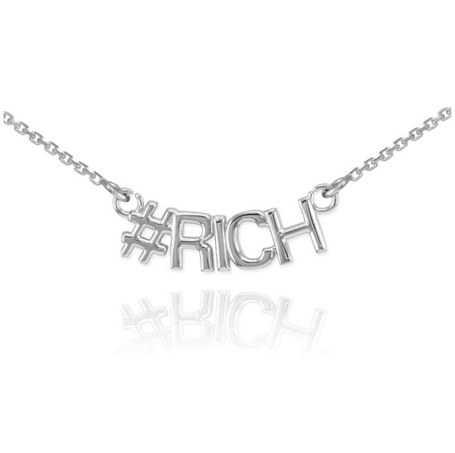 14k White Gold #RICH Necklace