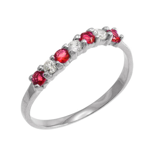 White Gold Wavy Stackable CZ Ruby Ring