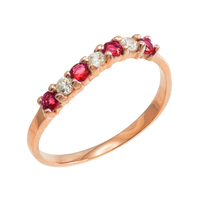 Rose Gold Wavy Stackable CZ Ruby Ring