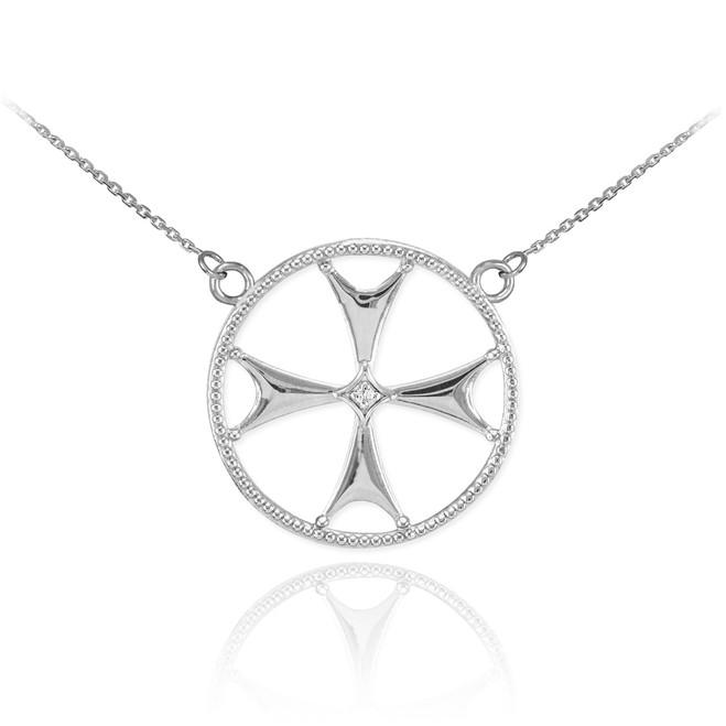 Sterling Silver CZ Maltese Cross Necklace